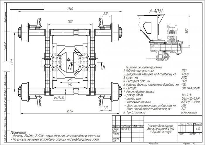 Тележка балансирная 43114 для пприцепов с тумбой